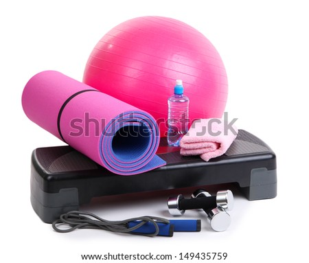 Different tools for fitness isolated on white - stock photo