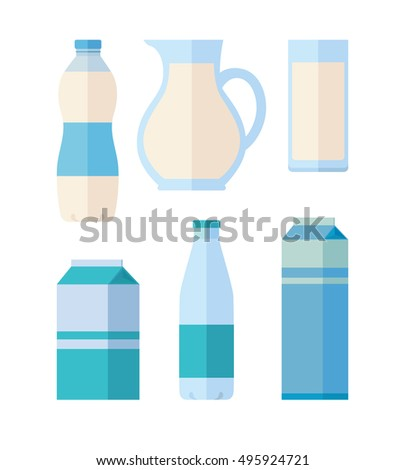 Different traditional dairy products from milk on white background. Packaged kefir, milk and yogurt. Assortment of dairy products. Farm food. Dairy icons set.  illustration in flat style.