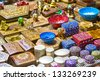 Different type of goods on the arabic market - stock photo