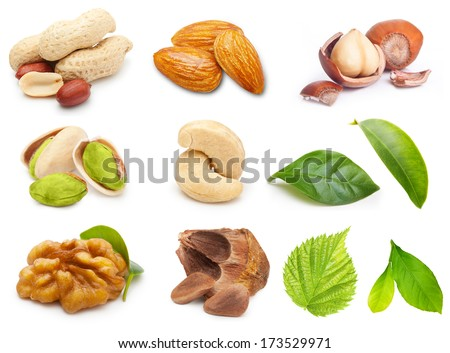 Different type of nuts isolated on white background. - stock photo