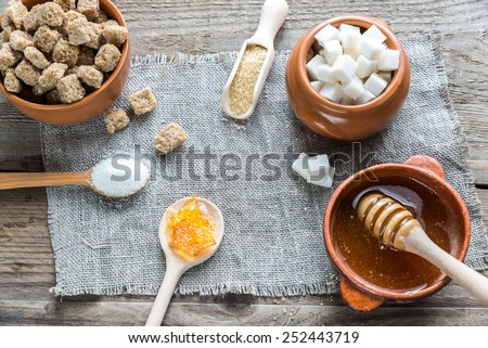 Different types and forms of sugar - stock photo