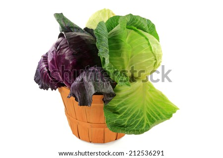 Different types fresh organic cabbage heads red, green, and white flat in wooden bushel basket over white background  - stock photo