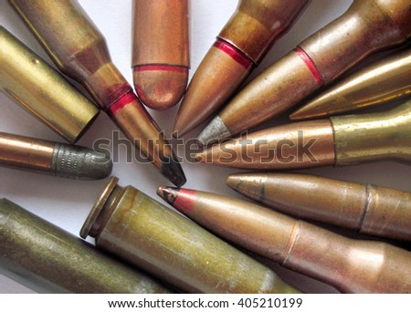 Different types of ammunition. Bullets of different calibers and types - stock photo