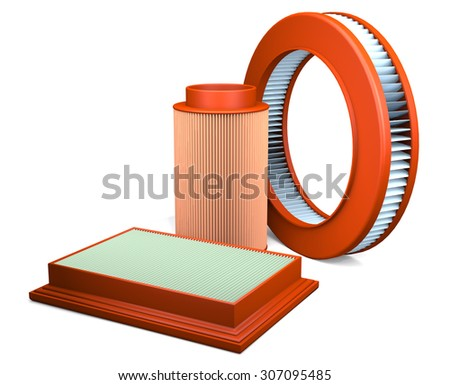 Different types of automotive air filters are on white background. - stock photo