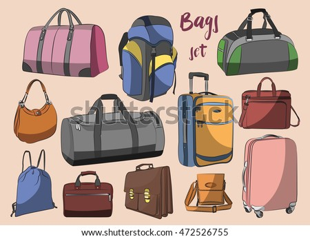 Different types of bags, cases, suitcases, backpacks, kids backpack, box, Lady bag, carry-on luggage, purse and other.