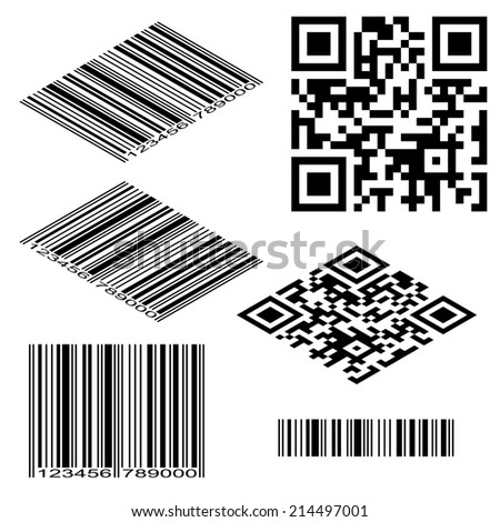 Different types of barcodes. Isometric and flat illustrations  - stock photo