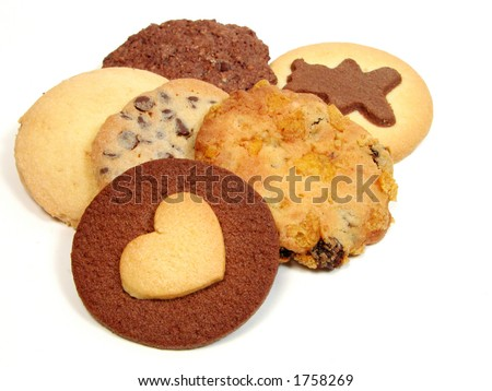 Different types of biscuits over white background - stock photo
