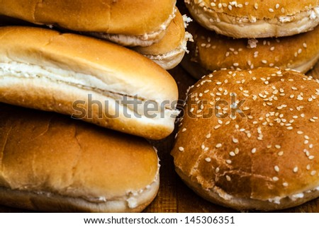 different types of bread buns for hamburgers or hot dogs - stock photo
