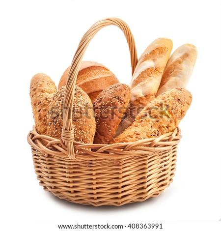 different types of bread in a basket isolated on a white background.