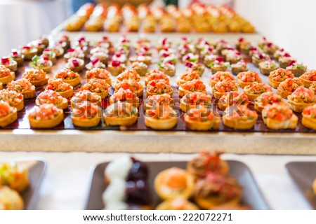 Different types of canapes on buffet table - stock photo