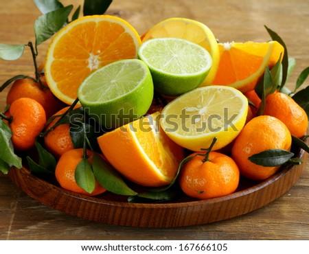 different types of citrus fruits (orange, lime, lemon, tangerine) - stock photo