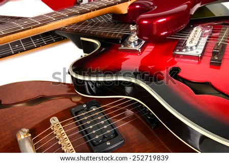 different types of electric guitars - stock photo