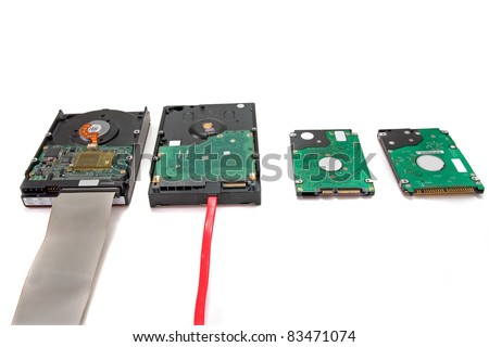 Different types  of hard drives desktop and laptop sata,pata hard drives  with cables