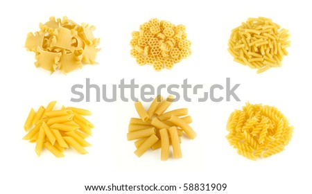 Different types of italian pasta isolated on white - stock photo