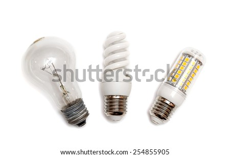 different types of light bulbs on white - stock photo