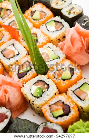 Different Types of Maki Sushi - stock photo