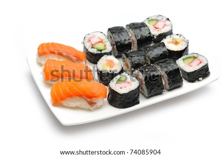 Different Types of Maki Sushi and Nigiri Sushi in Sushi Set - stock photo