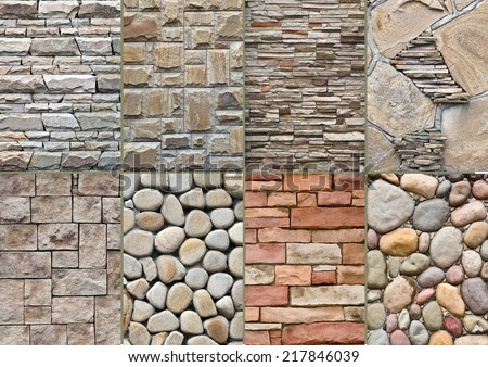 Different types of masonry.Building.stone ornament - stock photo