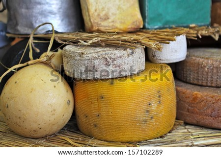 Different types of mature cheese on the stand on International Cheese Festival in Bra, Northern Italy. - stock photo