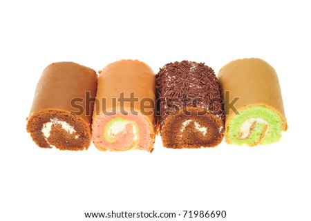 Different Types Of Mini Swiss Rolls Isolated On White Background - stock photo