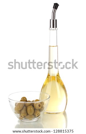 Different types of oil with olives isolated on white - stock photo