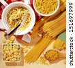 Different types of pasta - stock