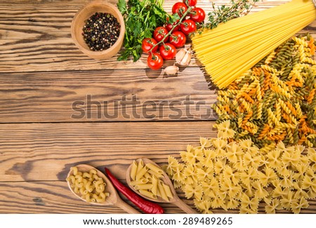 different types of pasta - stock photo