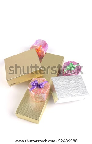 different types of present boxes over white background - stock photo