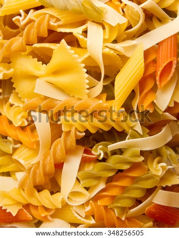 Different types of raw pasta