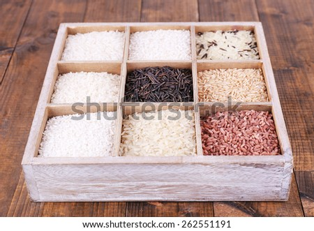 Different types of rice in box on wooden background - stock photo