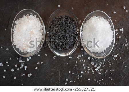 different types of salt crystals - stock photo
