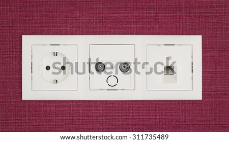 Different types of sockets on the wall  - stock photo