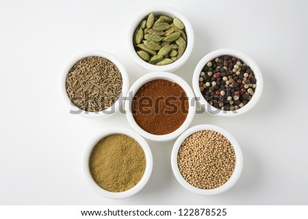 Different types of spices in bowls over white background - stock photo