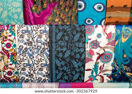 Different types of turkish fabrics textiles together with vivid colors.  - stock photo