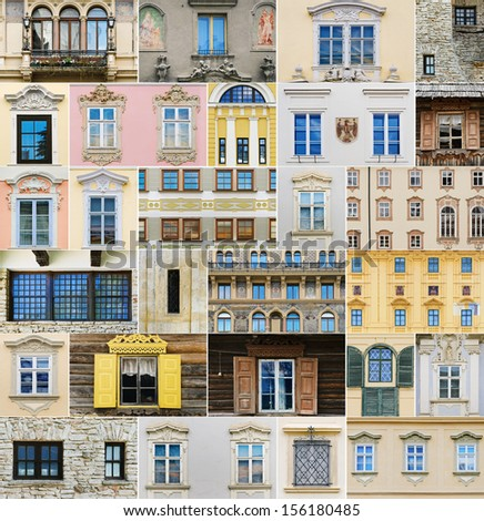Different Types Of Windows Over The Europe - stock photo