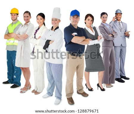 Different types of workers standing against white background