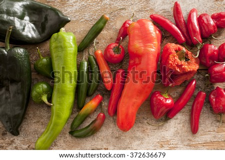 Different varieties and colors of whole fresh chili peppers arranged in a line on a wooden table with red, green and black peppers viewed from above - stock photo