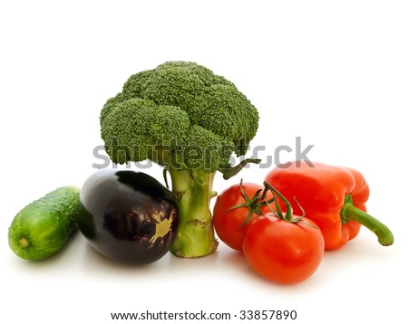 different vegetables against the white background - stock photo