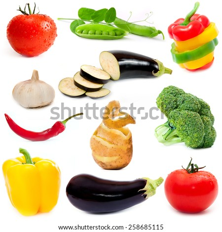 different vegetables isolated on a white background - stock photo
