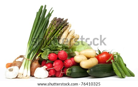 different vegetables on white background - stock photo