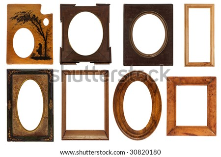 different vintage frames isolated on white background with clipping path - stock photo