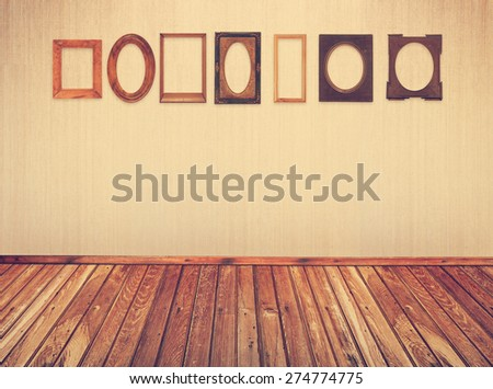 different vintage frames on wall, retro filtered, instagram style - stock photo