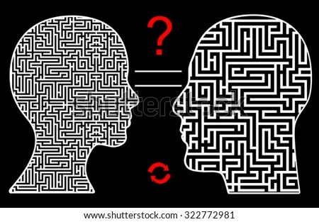 Different Way of Thought. Women seem to think sophisticated, men straight forward leading to misunderstanding in communication - stock photo
