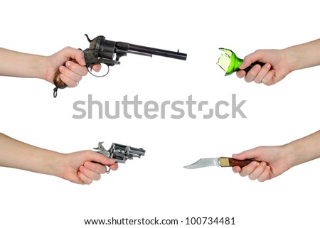 different weapons to protect themselves - stock photo