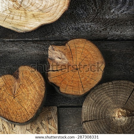 different wood textures composition - stock photo
