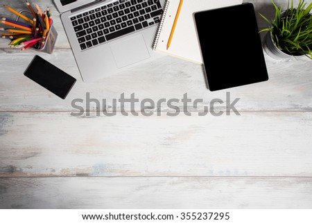 Different working tools in office  - stock photo