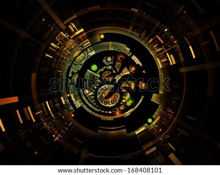 Differential Engine Series. Abstract design made of gears, numbers and fractal elements on the subject of computers, technology and mathematical science