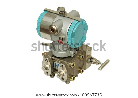 Differential pressure sensor. Close-up. Isolated on a white background.