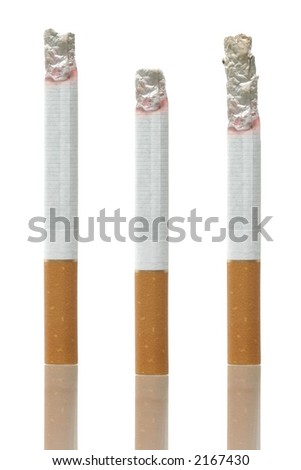 Differently burned cigarettes on white