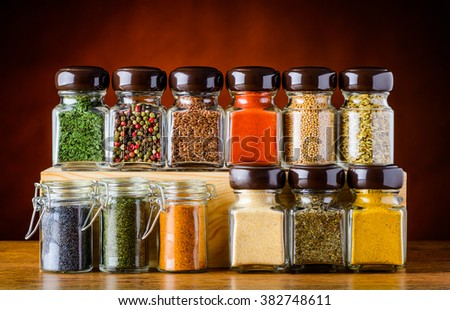 Differnt Seeds and Food Spices in glasses
